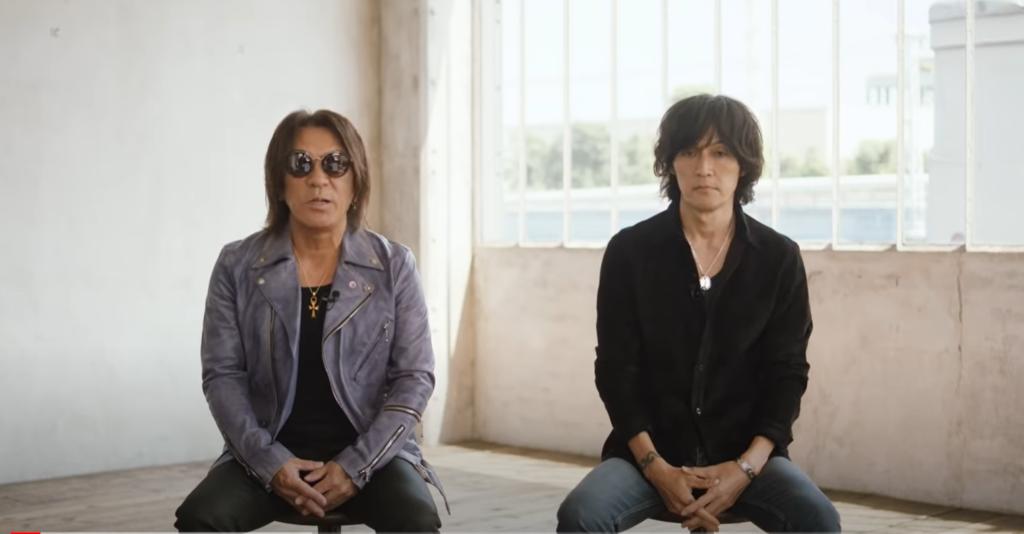 B'z配信ライブメッセージ動画に登場した松本孝弘、稲葉浩志の画像