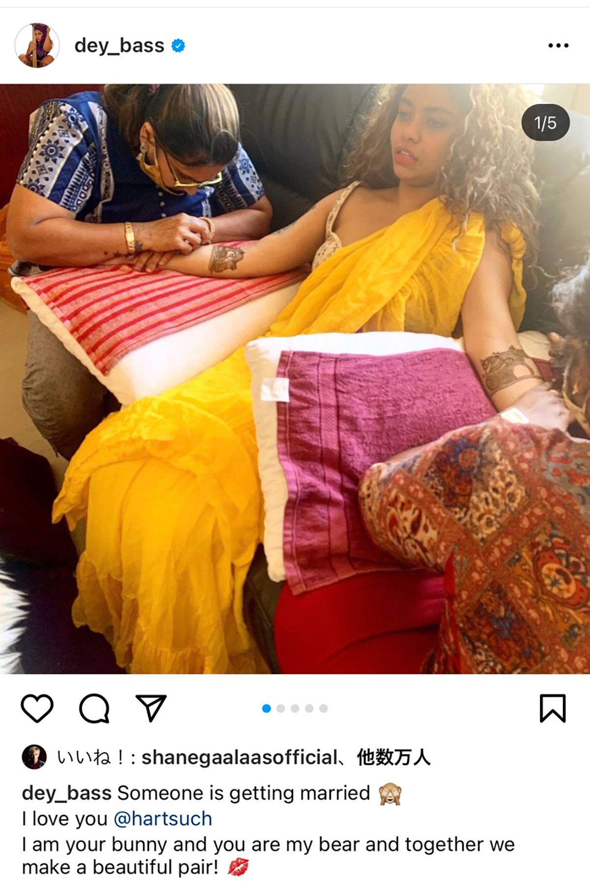 B'zサポートベーシスト・モヒニ・デイが結婚を報告する投稿