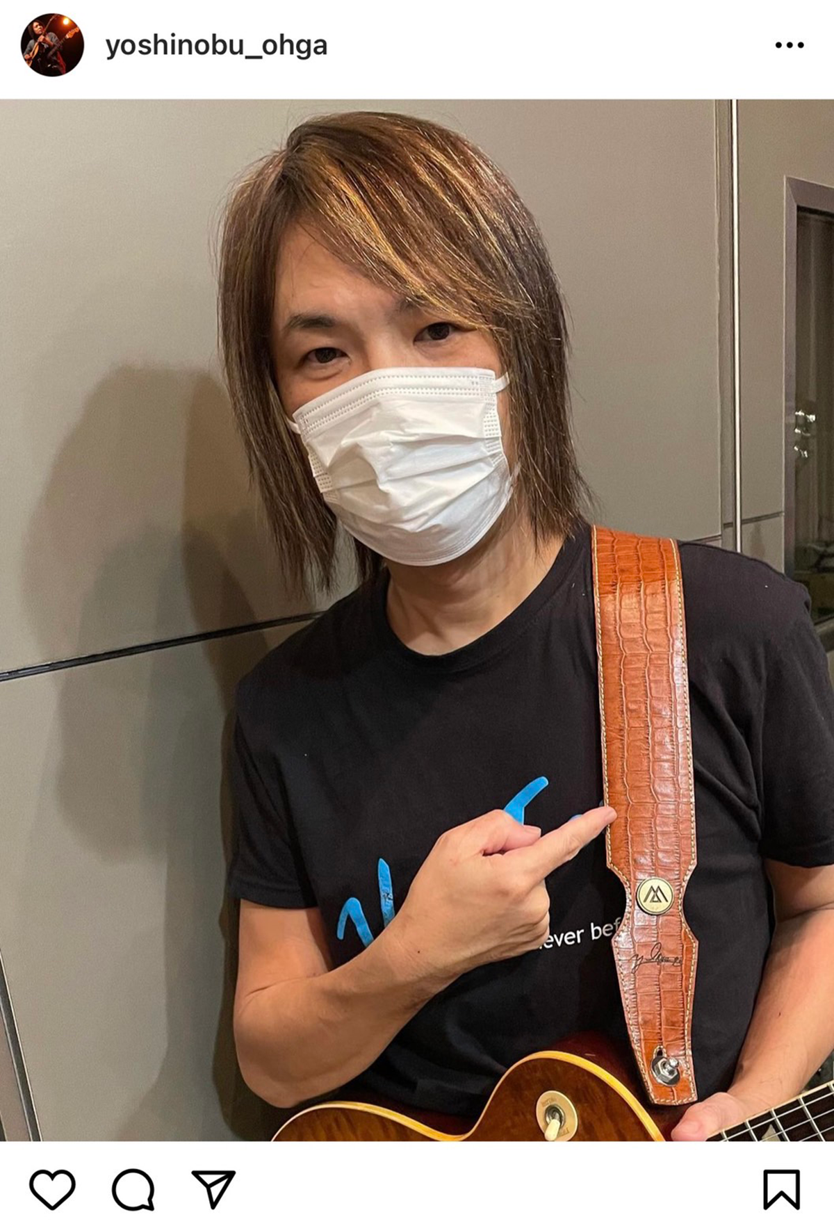 自身が愛用する「LAMANTA」のストラップを入手したことを報告するB'zのサポートギター・大賀好修の写真